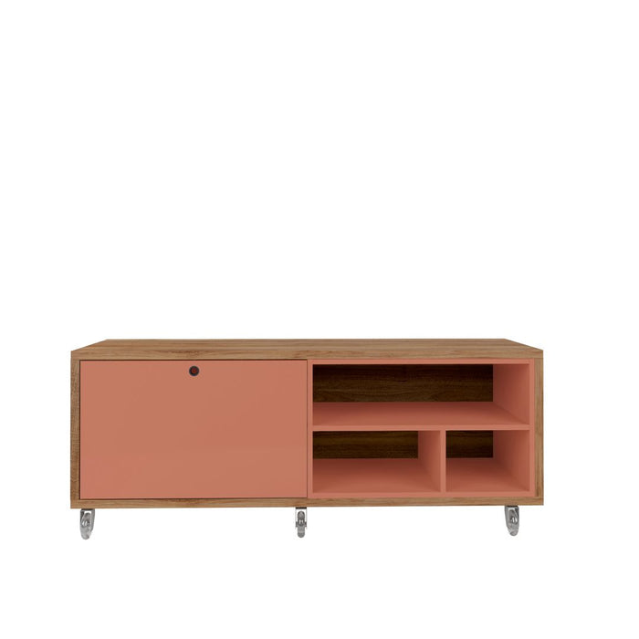 Manhattan Comfort Windsor 53.62 Modern Shoe Rack Bed Bench with Silicon Casters in Ceramic Pink and NatureManhattan Comfort-Shoe Closet- - 1