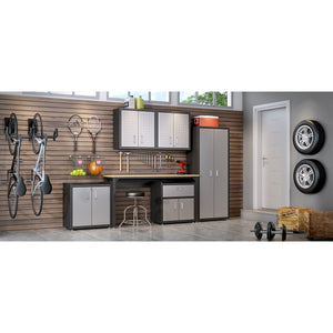 Manhattan Comfort 6-Piece Fortress Textured Garage Set with Cabinets, Wall Units and Table in Grey.,  - Manhattan Comfort - 1
