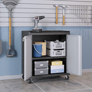 Manhattan Comfort 6-Piece Fortress Textured Garage Set with Cabinets, Wall Units and Table in Grey.,  - Manhattan Comfort - 4