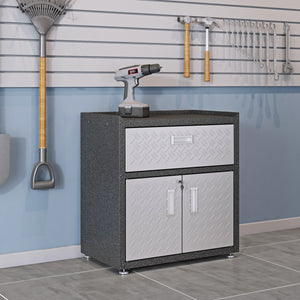 Manhattan Comfort 6-Piece Fortress Textured Garage Set with Cabinets, Wall Units and Table in Grey.,  - Manhattan Comfort - 7