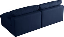 Meridian Furniture Serene Navy Linen Fabric Deluxe Cloud Modular Armless Sofa