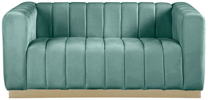 Meridian Furniture Marlon Mint Velvet Loveseat