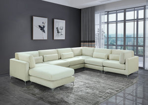 Meridian Furniture Julia Cream Velvet Modular Sectional (7 Boxes)
