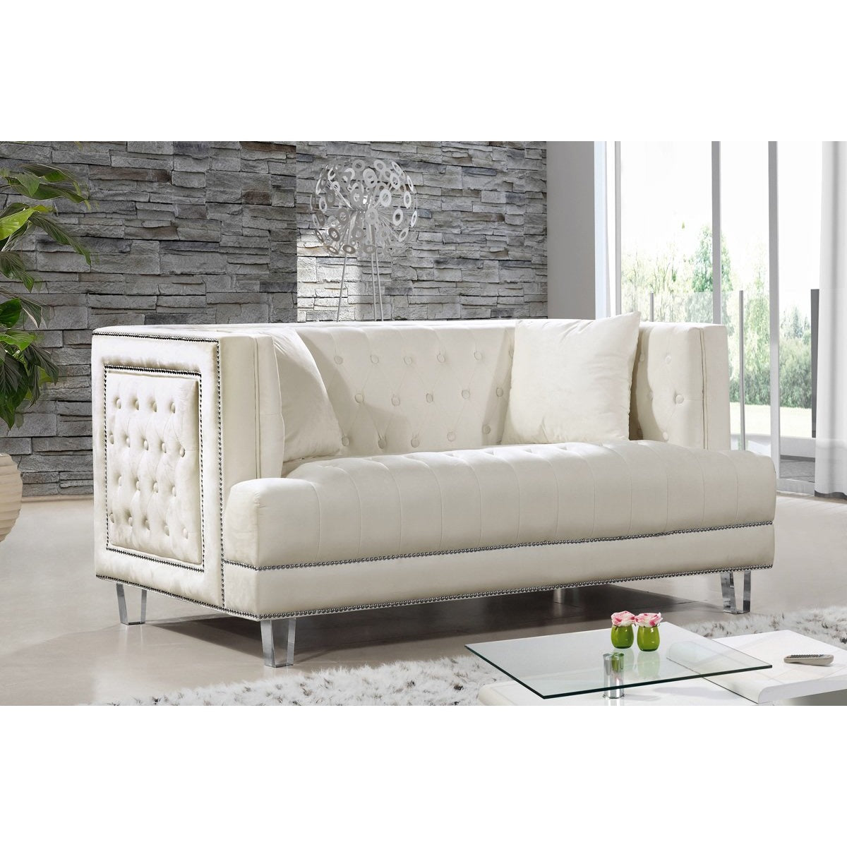 Meridian Furniture Lucas Cream Velvet Loveseat Minimal Modern