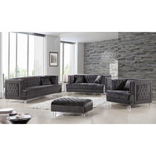 Meridian Furniture Lucas Grey Velvet Loveseat-Minimal & Modern