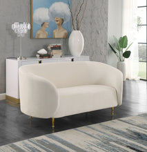 Meridian Furniture Lavilla Cream Velvet Loveseat
