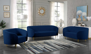 Meridian Furniture Lavilla Navy Velvet Sofa