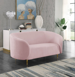 Meridian Furniture Lavilla Pink Velvet Loveseat