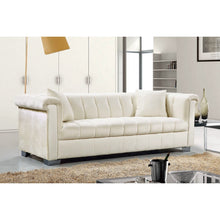 Meridian Furniture Kayla Cream Velvet Sofa-Minimal & Modern
