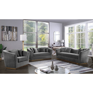 Meridian Furniture Arabella Grey Velvet Sofa-Minimal & Modern