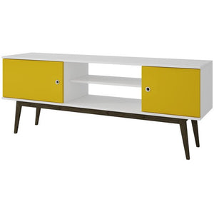 Accentuations by Manhattan Comfort Salem Splayed Leg TV  Stand in White and Yellow. Manhattan Comfort-Entertainment Center- - 1