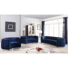 Meridian Furniture Julian Navy Velvet Sofa-Minimal & Modern