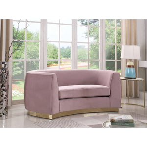 Meridian Furniture Julian Pink Velvet Loveseat-Minimal & Modern