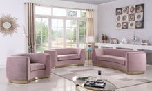 Meridian Furniture Julian Pink Velvet Loveseat