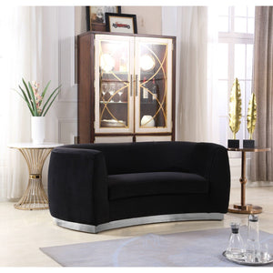 Meridian Furniture Julian Black Velvet Loveseat-Minimal & Modern