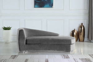 Meridian Furniture Julian Grey Velvet Chaise