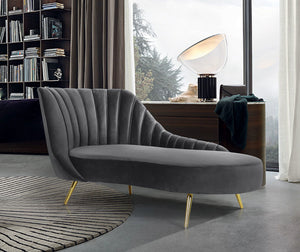 Meridian Furniture Margo Grey Velvet Chaise