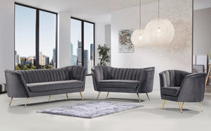 Meridian Furniture Margo Grey Velvet Loveseat