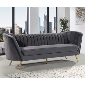 Meridian Furniture Margo Grey Velvet Sofa-Minimal & Modern