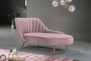 Meridian Furniture Margo Pink Velvet Chaise