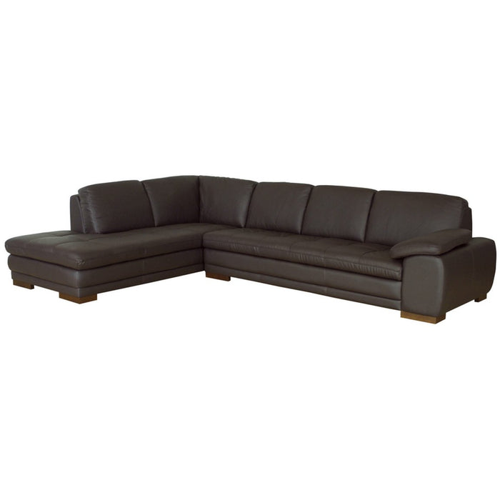 Baxton Studio Diana Dark Brown Sofa/Chaise Sectional Reverse Baxton Studio-sectionals-Minimal And Modern - 1