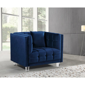 Meridian Furniture Mariel Navy Velvet Chair-Minimal & Modern