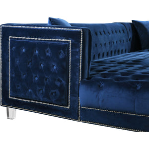 Meridian Furniture Moda Navy Velvet 3pc. Sectional-Minimal & Modern