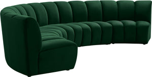 Meridian Furniture Infinity Green Velvet 5pc. Modular Sectional