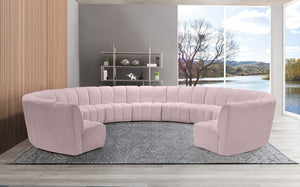 Meridian Furniture Infinity Pink Velvet 11pc. Modular Sectional