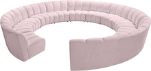 Meridian Furniture Infinity Pink Velvet 12pc. Modular Sectional