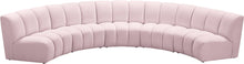 Meridian Furniture Infinity Pink Velvet 5pc. Modular Sectional