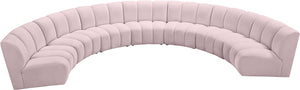 Meridian Furniture Infinity Pink Velvet 7pc. Modular Sectional