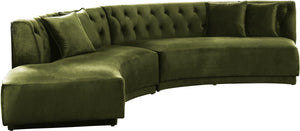 Meridian Furniture Kenzi Olive Velvet 2pc. Sectional