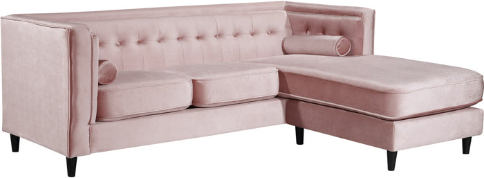 Meridian Furniture Taylor Pink Velvet 2pc. Reversible SectionalMeridian Furniture - no_type - Minimal And Modern - 1