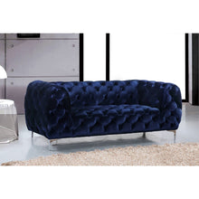 Meridian Furniture Mercer Navy Velvet Loveseat-Minimal & Modern