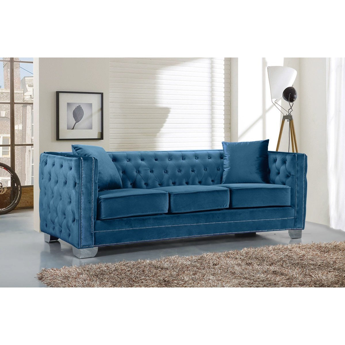 Meridian Furniture Reese Light Blue Velvet Sofa Minimal Modern