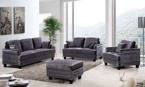 Meridian Furniture Ferrara Grey Velvet Loveseat