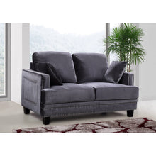Meridian Furniture Ferrara Grey Velvet Loveseat-Minimal & Modern