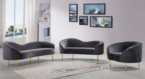 Meridian Furniture Ritz Grey Velvet Sofa