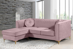 Meridian Furniture Eliana Pink Velvet 2pc. Reversible Sectional