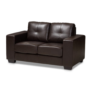 Baxton Studio Fanette Modern and Contemporary Dark Brown Faux Leather Upholstered Loveseat Baxton Studio-loveseat-Minimal And Modern - 1