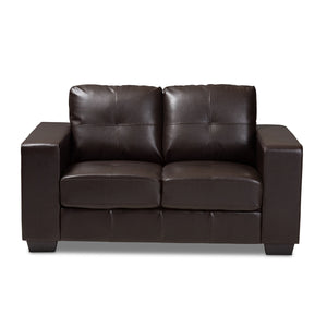 Baxton Studio Fanette Modern and Contemporary Dark Brown Faux Leather Upholstered Loveseat Baxton Studio-loveseat-Minimal And Modern - 2