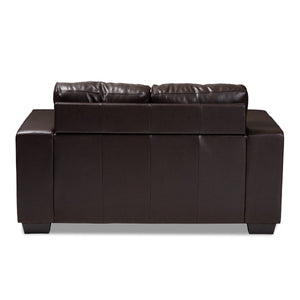 Baxton Studio Fanette Modern and Contemporary Dark Brown Faux Leather Upholstered Loveseat Baxton Studio-loveseat-Minimal And Modern - 4