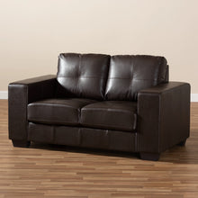 Baxton Studio Fanette Modern and Contemporary Dark Brown Faux Leather Upholstered Loveseat Baxton Studio-loveseat-Minimal And Modern - 8