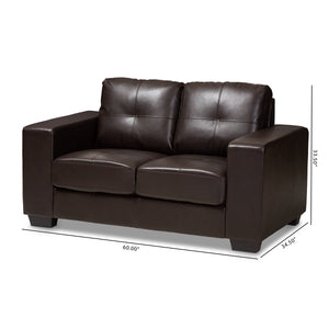 Baxton Studio Fanette Modern and Contemporary Dark Brown Faux Leather Upholstered Loveseat Baxton Studio-loveseat-Minimal And Modern - 9