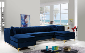 Meridian Furniture Graham Navy Velvet 3pc. Sectional