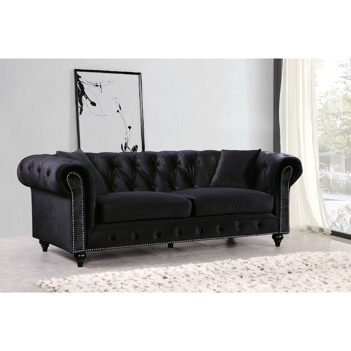 Meridian Furniture Chesterfield Black Velvet Sofa Minimal U0026 Modern ...