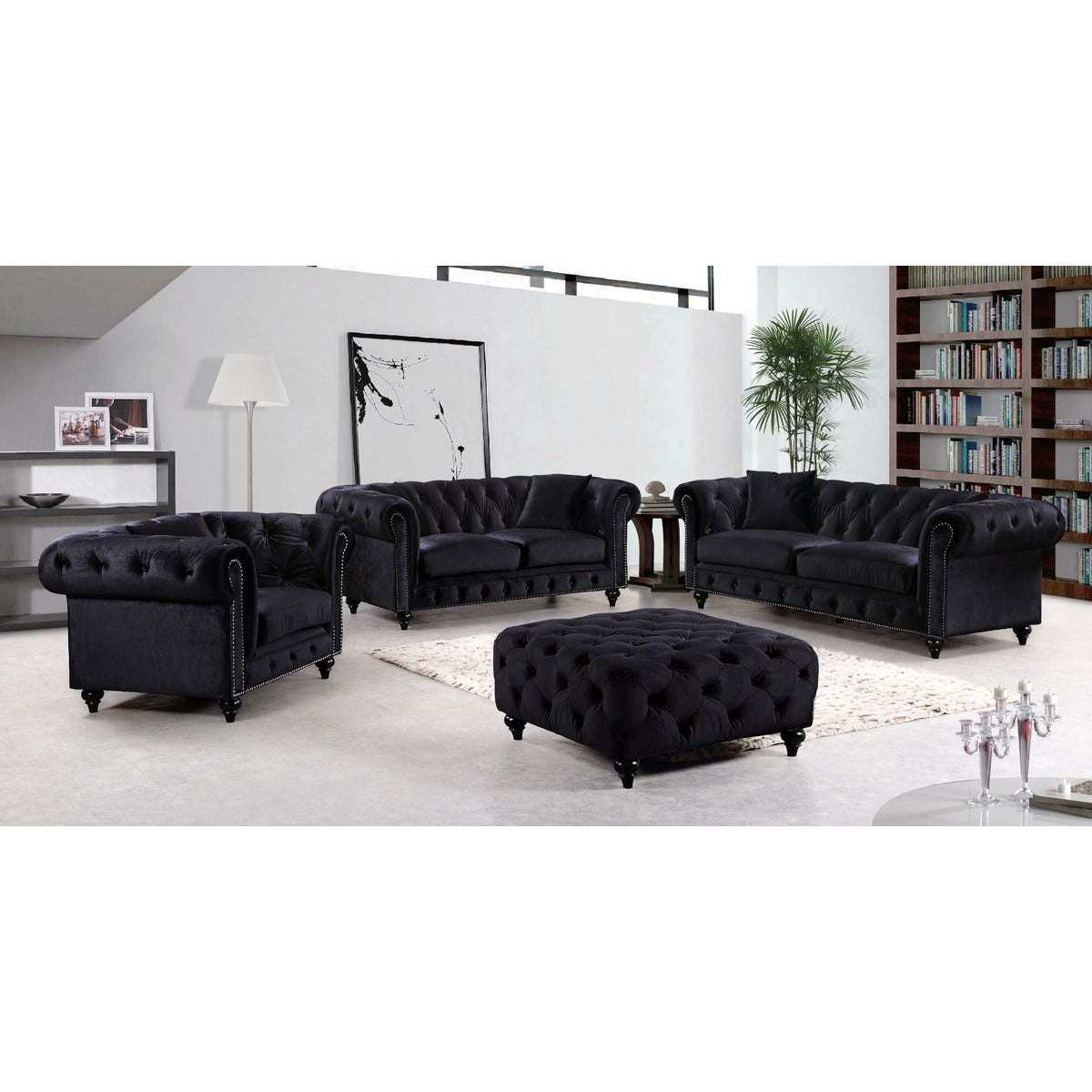 Meridian Furniture Chesterfield Black Velvet Sofa – Minimal & Modern