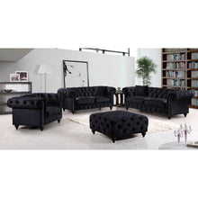 Meridian Furniture Chesterfield Black Velvet Sofa-Minimal & Modern