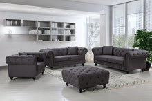 Meridian Furniture Chesterfield Grey Linen Loveseat